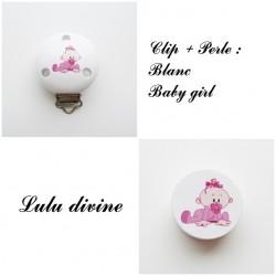 Clip bois + Perle Blanc : Bébé fille