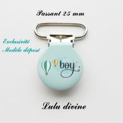 Pince ronde 25 mm : Little boy (bleue montgolfière)