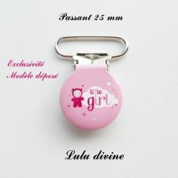 Pince ronde 25 mm : Little girl (rose Nuage Poupée)