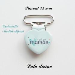 Pince coeur 25 mm : Fait par maman (bleue coeur)
