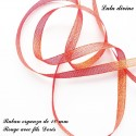 Ruban organza 10 mm Rouge fils Dorés