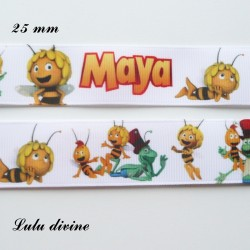 Ruban blanc Maya l'abeille de 25 mm