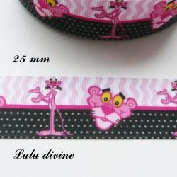 Ruban rose & noir La panthère rose de 25 mm
