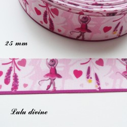 Ruban rose Souris Ballerine de 25 mm