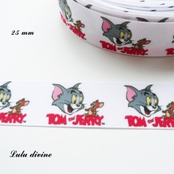 Ruban blanc Tom & Jerry de 22 mm