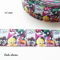 Ruban Bugs Bunny, Daffy Duck, Titi & Grosminet de 25 mm