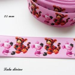 Ruban rose Baby Tigrou & Porcinet de 25 mm