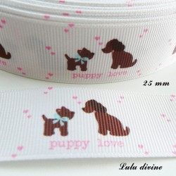 Ruban blanc Puppy love Chien d'amour de 25 mm