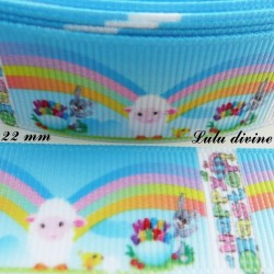 Ruban Happy easter Mouton arc en ciel de 22 mm