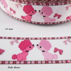 Ruban blanc liseré rose Chien Caniche rose de 22 mm