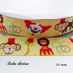 Ruban jaune Cirque Lion Clown Singe Ballon de 22 mm