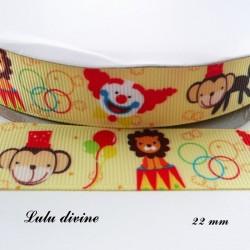 Ruban jaune Cirque Lion Clown Singe Ballon de 22 mm