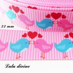 Ruban rose Couple Oiseaux rose & bleu de 22 mm
