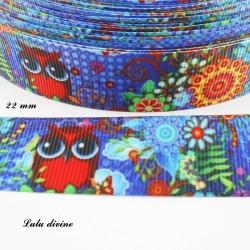 Ruban bleu & fleuri Hibou Chouette rouge mystérieux de 22 mm