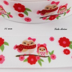 Ruban blanc Fleurs rose & rouge Hibou & Oiseau sur une branche de 25 mm