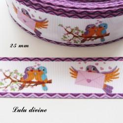 Ruban blanc Bord violet Oiseaux sur une branche Lettre d'amour de 25 mm
