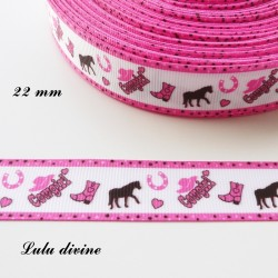 Ruban blanc liseré rose Cheval Cowboy de 22 mm