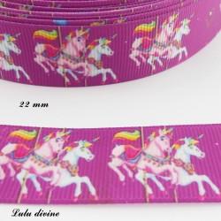 Ruban violet Carousel Chevaux de 22 mm
