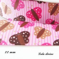 Ruban rose à rayure Papillon Rose marron beige de 22 mm