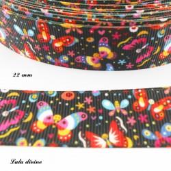Ruban noir Papillon multicolore de 22 mm