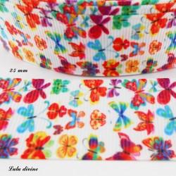 Ruban blanc Papillon multicolore de 25 mm