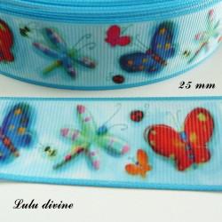 Ruban bleu Papillon & Libellule de 25 mm