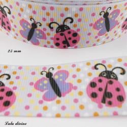 Ruban parme à pois multicolore Coccinelle & Papillon de 25 mm