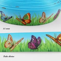 Ruban bleu fond Herbe verte Papillon de 25 mm
