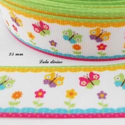 Ruban blanc bord coloré Papillon multicolore de 25 mm