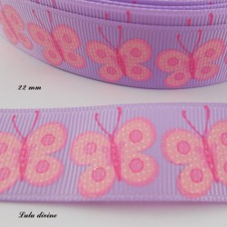 Ruban parme Papillon rose effet brillant de 22 mm