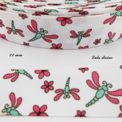Ruban blanc Libellule & fleurs de 22 mm