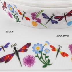 Ruban blanc Libellule fleurs & Pissenlit de 22 mm