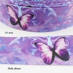 Ruban parme & violet Papillon ton violet de 22 mm