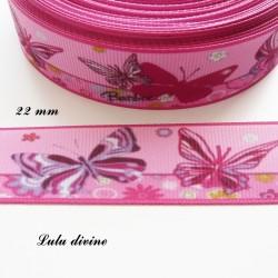 Ruban rose Papillon rose & violet de 22 mm