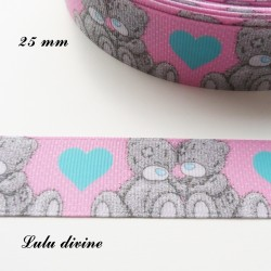 Ruban rose clair coeur bleu Ourson/ Teddy de 25 mm