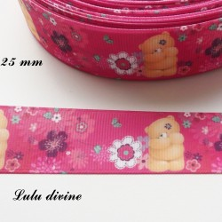 Ruban rose fleurs blanc rose violet Ourson/ Teddy de 25 mm