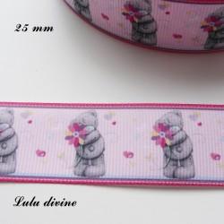 Ruban rose clair liseré rose Ourson/ Teddy gris tient Fleur de 25 mm