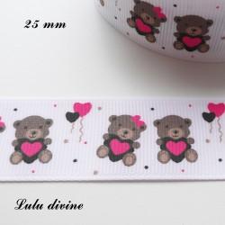 Ruban blanc pois & ballons Ourson / Teddy tient un coeur de 25 mm