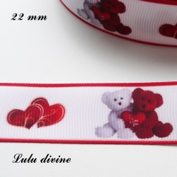 Ruban blanc liseré rouge Ourson/ Teddy rouge & blanc Valentin de 22 mm