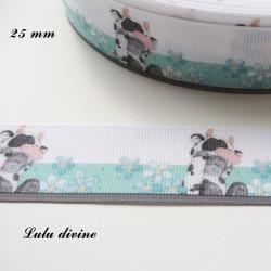 Ruban blanc & bleu Ourson / Teddy se déguise en Vache de 25 mm