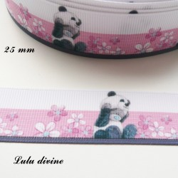 Ruban blanc & rose Ourson / Teddy se déguise en Panda de 25 mm