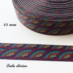 Ruban noir éventail de coeur multicolore de 22 mm