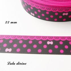 Ruban noir à pois & effet dentelle fuchsia - noeud rose de 22 mm