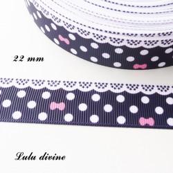 Ruban bleu marine à pois & effet dentelle blanc - noeud rose de 22 mm