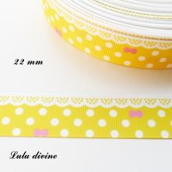 Ruban jaune à pois & effet dentelle blanc - noeud rose de 22 mm
