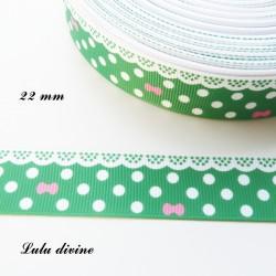 Ruban vert à pois & effet dentelle blanc - noeud rose de 22 mm