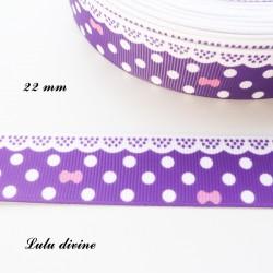 Ruban violet à pois & effet dentelle blanc - noeud rose de 22 mm