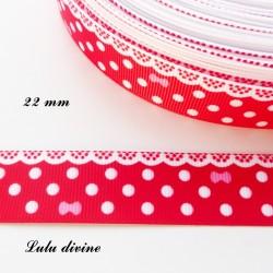Ruban rouge à pois & effet dentelle blanc - noeud rose de 22 mm
