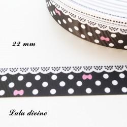 Ruban noir à pois & effet dentelle blanc - noeud rose de 22 mm