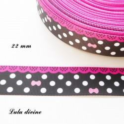 Ruban noir à pois blanc - effet dentelle fuchsia - noeud rose de 22 mm